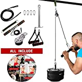Fitness LAT and Lift Pulley System, Forearm Wrist Blaster Roller ,DIY Cable Machine Crossover Attachment, Functional Training Equipment,for Triceps Pull Down, Biceps Curl, Back, Forearm (Black, 11pcs)