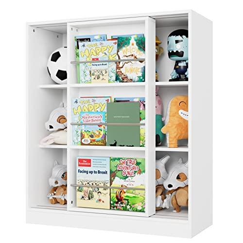 Armario Almacenaje de 3 Niveles Mueble Estantería Madera para Juguetes Libros Revistas con 6 Estantes 1 Armario Corredero Blanco