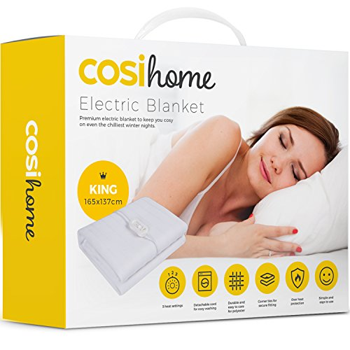 Premium Comfort King Size Electric Blanket - Control with 3 Heat Settings, Polyester, White