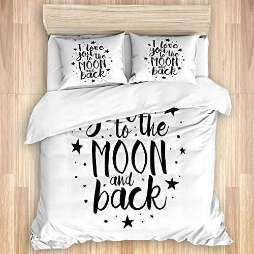 MEJX Parure de lit Set de Housse de Couette,Je t'aime Inspiration Romance Print,1 Drap de lit 240x220 + 2 Taies d'Oreillers 75x50,King