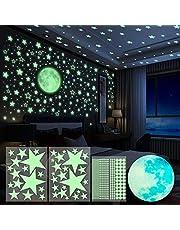 Yosemy 4 naklejki ścienne, świecące naklejki, 563 sztuki, świecące naklejki, tatuaż ścienny, księżyc i gwiazdy, fluorescencyjne, naklejki na ścianę, fluorescencyjne, do pokoju dziecięcego, naklejki dekoracyjne