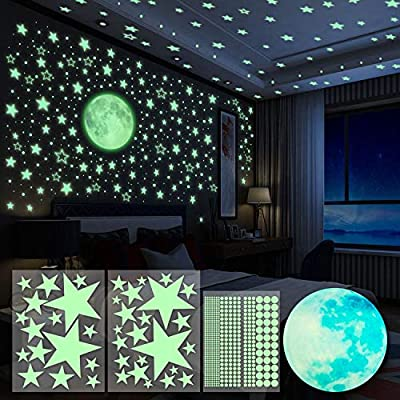 Crea un cielo estrellado real, 4 piezas pegatinas de pared que brillan en la oscuridad están incluidas en el paquete, 1 gran luna luminosa (20 cm), 2 piezas estrellas que varían en tamaño, 1 pieza puntos Hecho del material respetuoso del medio ambien...