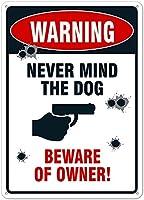 安全標識-おかしい立ち入り禁止の標識、犬を気にしないでください。 金属スズサインUV保護および耐候性、通知警告サイン
