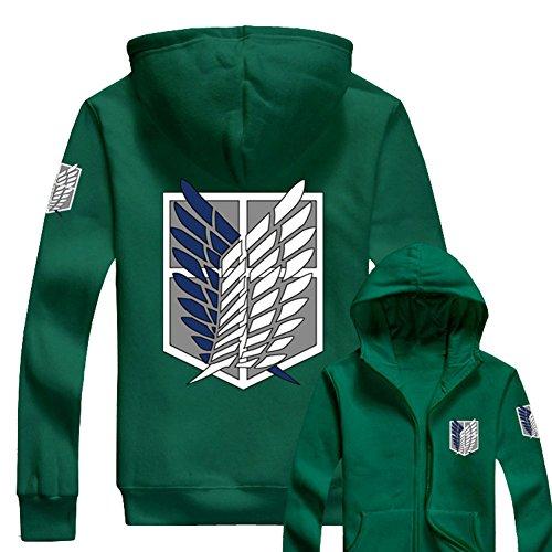 Sudadera con cremallera y capucha, diseño con las alas de la libertad de la serie de anime Attack On Titan