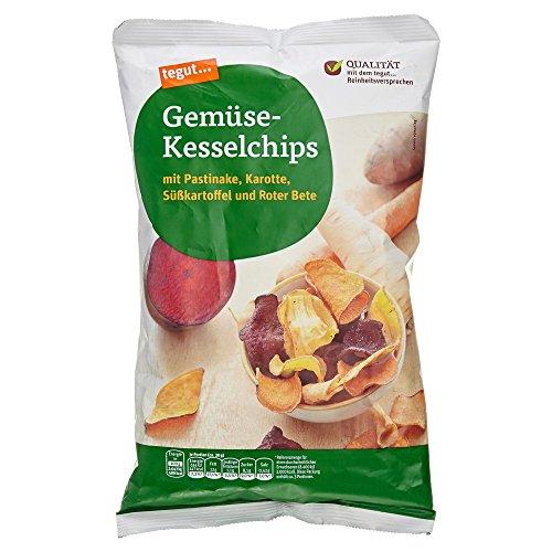tegut... Gemüsechips-Kesselchips mit Pastinake, Karotte, Süßkatoffel und roter Bete (1 x 100 g)