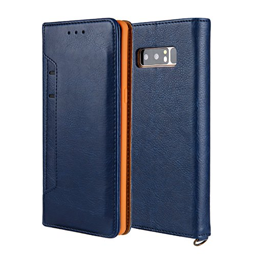 Samsung Galaxy Note 8 Wallet Case With Stand Feature, Additional Pocket Protective Credit Card Slim Leather Shockproof Hybrid Case for Samsung Galaxy Note 8 (Navy Blue)