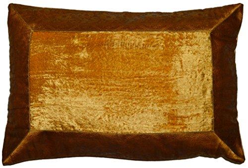 Deko-Kissenbezüge Kissenhülle Samt Brokat Asiatisch Indisch Orientalisch Bezug Kissen 60x40 cm (Gold)