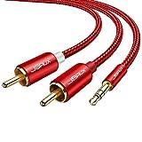 JSAUX RCAケーブル 3.5mm ステレオミニプラグ to 2RCA 変換 ステレオオーディオケーブル スマホ タブレット TV 等に対応 2m(赤)