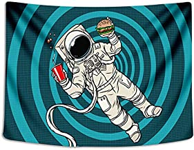 Tapestry Wall Cloth Fabric Hanging Hippie Bohemian for Bedroom Dorm Apartment Decoration Astronaut Dance On The Moon Earth Planet A Men Drink Beer USA Flag 153x102cm(60x40inch) (014)