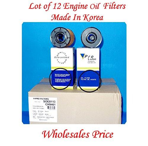 (LOT OF 12) Engine Oil Filter SOE8113 / L38113 MADE IN KOREA Fits: AUDI A3 06-13 TT 04-09 VWBEETLE 13-14 CC 09-12 EOS 07-08 EUROVAN 01-03 GOLF03-14 JETTA 02-14 PASSAT 06-10 R32 2008