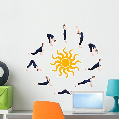 """Wallmonkeys FOT-33252541-24 WM208888 Steps of Yoga Surya Namaskar Sun Salutation Peel and Stick Wall Decals H x 24 in W, 24"""" 24"""" W-Medium"""