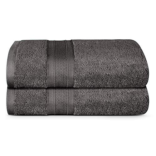 TRIDENT Bath Towels, 2 Piece Bathroom Towels, 100% Cotton, Highly Absorbent Large Bath Towels Set, Super Soft Towels for Bathroom, Soft and Plush, 500 GSM (Charcoal)
