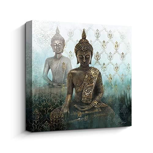 Pigort - Premium Canvas Print Zen Buddha Wall Art Decor Religion Wall Paintings Stretched (31.5'x31.5')