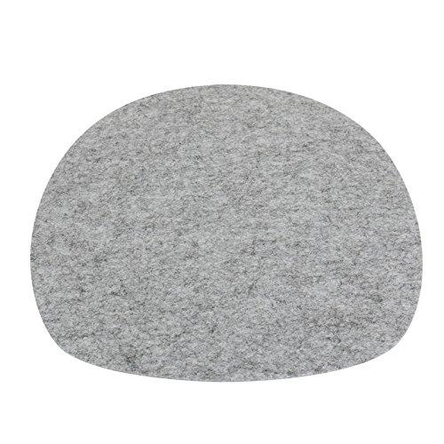 7even Filz Auflage ovale Filzmatte Einseitig 4mm Filz-Auflage-Polster Premium Exklusiv ideal für viele Klassiker Sidechairs (35,5 x 39, Grau)