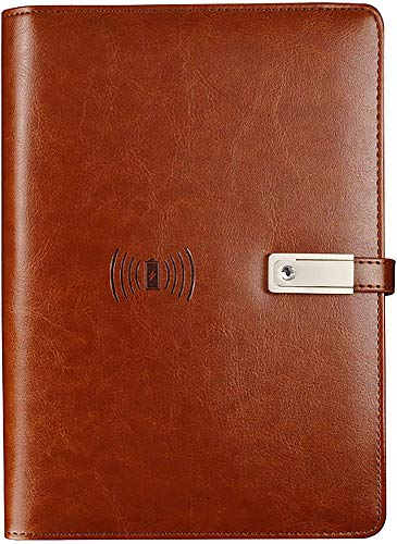 GIOAMH Cuaderno de Tapa Dura,Diario de Viajes de Energía Móvil Incorporada,Negocio Notebook,5 Colores Carga Inalambrica /  Marrón