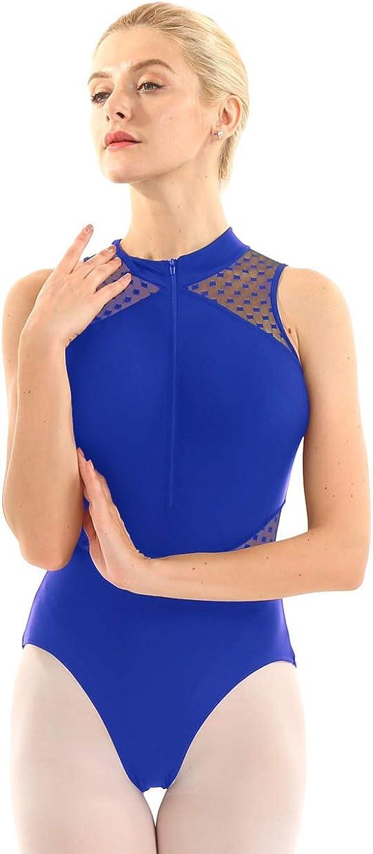 WinChang Mesh Splice Shoulder Ballet Leotard Women Gymnastics Bodysuit Top Dancewear