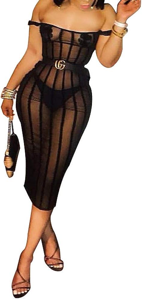 ECHOINE Womens Sexy See Through Dress - Mesh Sheer Sleeveless Bandage Bodycon Mini Dressses