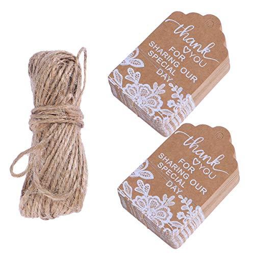 Supvox - Etichette per regali in carta kraft, con pizzo bianco stampato e corda di canapa, 50 pezzi