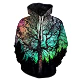 Unisex Realistic 3D Digital Print Pullover Hoodies Hooded Pockets Sweatshirts Hoodie (XX-Large/XXX-Large, Withered Tree)