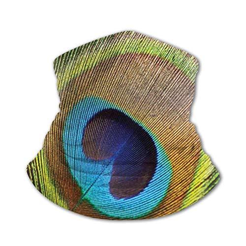 Verctor Kindergesichtsabdeckung Bandana Pfau Pfauenfeder mit Augenform Nahaufnahme Bild Exotische Wilde Natur Dekoration Blaugrün Senf Gesichtsmaske