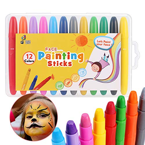 Crayones de Pintura para la Cara fácil y Lisa 12 Colores Brillantes - Kit de Pintura Facial Lavable no tóxica para niños - Fiesta de Halloween en el Festival de Navidad Maquillaje Regalos Paiting Pen