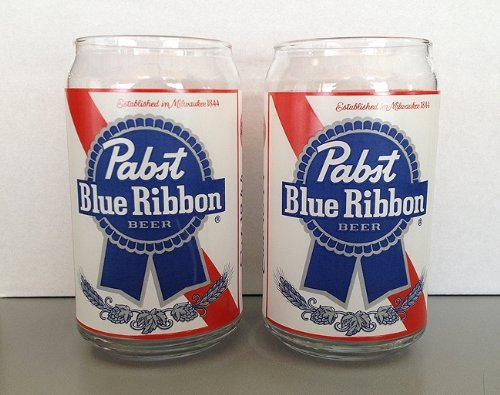 Pabst Blue Ribbon Beer Can Shaped Beer Glasses 2 Pack