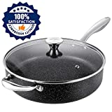 Frying Pan Induction 28cm, Stone-Derived Nonstick Coating Saute Pan, Stainless Steel Handle Woks & Stir Fry Pans, Oven Safe, Granite/Gift Box Included-SKYLIGHT