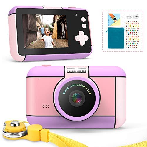 子供用デジタルカメラ トイカメラ キッズ デジカメ 前後2400万画素 1080P録画 連写 写真 タイマー撮影 自撮り 3倍ズーム 2.4インチ IPS画面 高画質 多機能 USB充電 子供のおもちゃ ミニカメラ 子供プレゼント 知育 教育