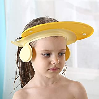 Baby Bath Shower Cap Wash Shampoo Visor hat Bathing tub Head Hair Rinser Prevent Water from Entering Eyes and Ears Protection Kids and Toddler (Yellow)