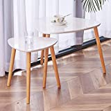 TaoHFE Nesting Coffee Tables Set of 2,Modern Furniture Decor Side End Table for Living Room, Office, Balcony, Easy Assembly, Triangle, White/Rubber Wood Legs