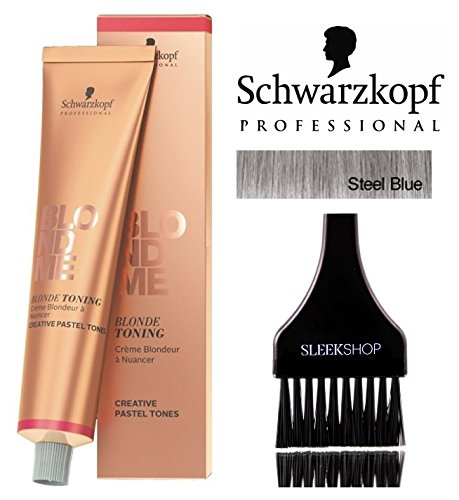 Schwarzkopf Professional Blond Me Blonde Toning (NEW VERSION - 2.1 oz); includes'Sleek Tint Brush' (STEEL BLUE)