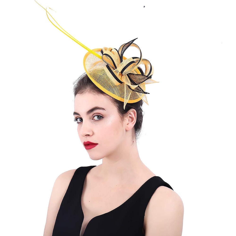 同盟在庫バナー女性の魅力的な帽子 女性のエレガントな魅惑的な帽子ブライダルフェザーヘアクリップアクセサリーカクテルレースロイヤルアスコットピルボックスハット (色 : 赤)