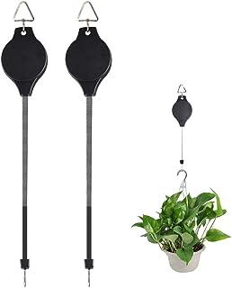2Packs Adjustable Plant Hanger Indoor Retractable Plant Hanger Outdoor Retractable Plant Hook Pulley Plant Hanger for Hang...