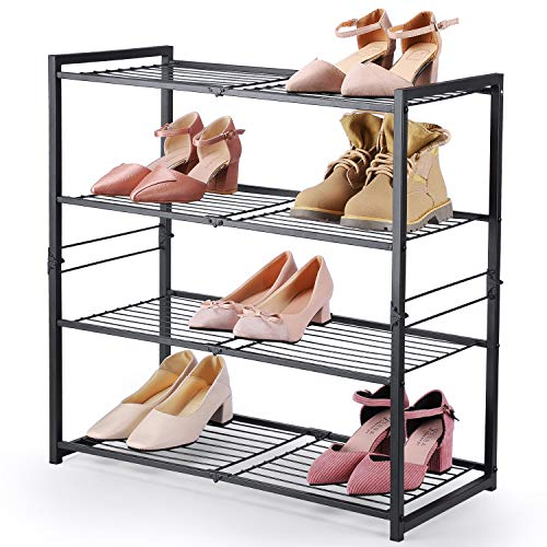 HOUSE DAY Estante de Zapatos para armarios 4 Niveles Ajustable Organizador de Zapatos DIY Estante de Zapatos Independiente 63.5 cm de Ancho Estante de Zapatos de Metal Estante