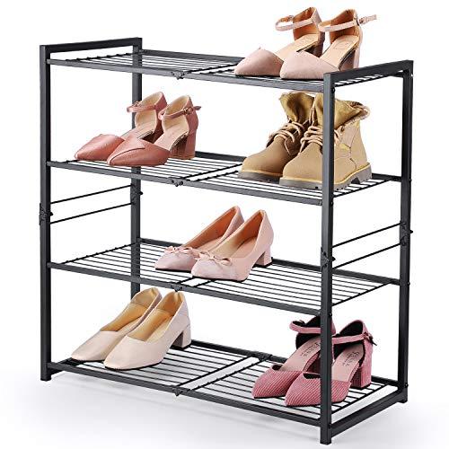 Smartor Shoe Organizer Free Standing Shoe Rack 4 Tier Shoe Rack Black Metal Shoe Rack 25 Inch Wide Shoe Tower Shelf Storage