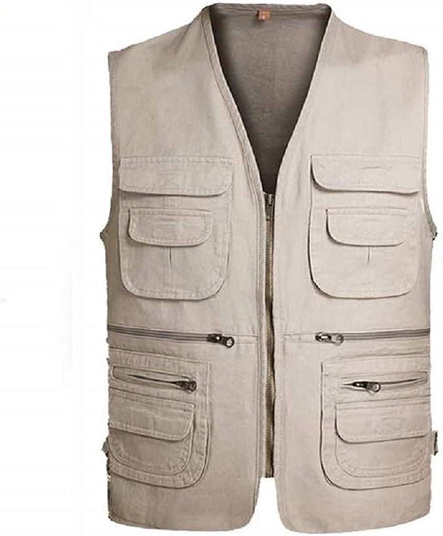 SOUGAO Mens Work Fishing Safari Vest Casual Cotton Outerwear Vest Multi Pockets