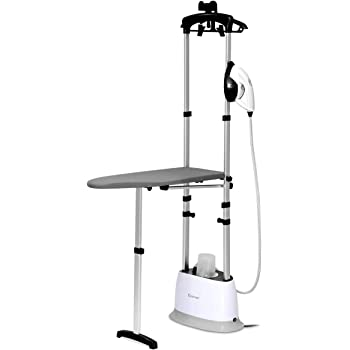 COSTWAY Garment Steamer for Clothes 1600W, 2-in-1 Heavy Duty Powerful Fabric Steamer for Home and Commercial Use, Dual-Use, Heat Fast, w/Fabric Brush, Ironing Board
