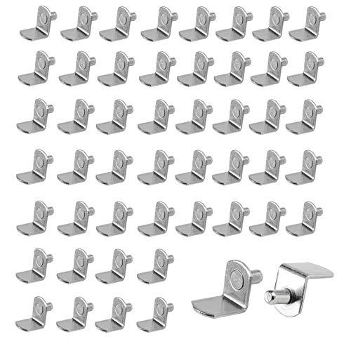 50 PCS Soporte de Baldas 6mm, Clavijas de Soporte de Estante en Forma de L, Clavijas de Soporte de Estante, para Estantes Muebles Armario Estantería Librería