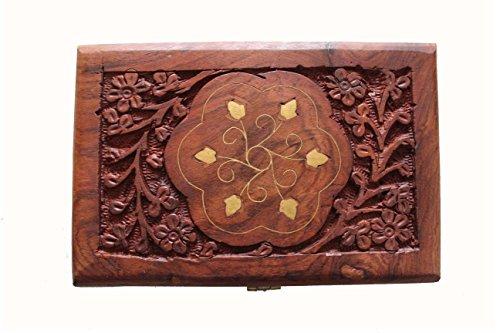 Cas Bijoux en bois Boîtes à souvenirs pour fille art et artisanat of India Longueur : 15 cm