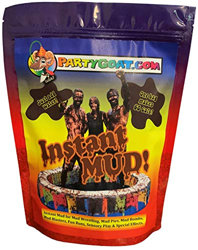 INSTANT MUD for Wrestling, Mud Pies, Balloons & Bombs JUST ADD WATER Bulk Mud powder makes 60 GALLONS of fake mud. Safe, clean mud run obstacle pits, pitch burst, Slime sludge messy kit oil tar