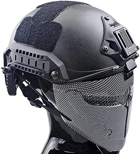 QQTQQ Juegos de Cascos tácticos rápidos, con máscara de Airsoft Militar, Juego Completo de Equipo de protección de Paintball, para Caza de Halloween CS War Game,CF-M