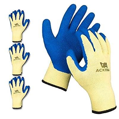 ACKTRA Latex Coated Cotton WORK GLOVES 12 Pairs / Dozen, Knit Wrist Cuff, Multipurpose, for Men & Women, Parent