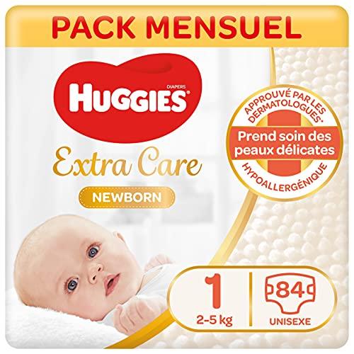 Huggies, Couches bébé Taille 1 (2-5 kg), Nouveau-nés, Unisexe, Avec indicateur d'humidité, Pack 1 mois de consommation, Nouveau née - 21x 4 (84 Unités)