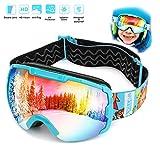 Skibrille Kinder Schneebrille Kinder Snowboardbrille Ski Goggles -Helmkompatible Skibrillen mit