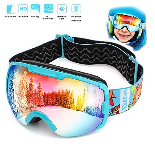 Skibrille Kinder Schneebrille Kinder Snowboardbrille Ski Goggles -Helmkompatible Skibrillen mit OTG...