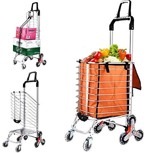 Chariots d\'épicerie avec roues pivotantes Chariot pliant portable pour économiser de l\'espace Chariot léger pour les prises de linge d\'épicerie,Orange