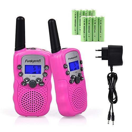 Funkprofi 2X T-388 Walkie Talkie Set für Kinder Funkgeräte PMR 446 mit Akkus Ladekabel 3KM Reichweite 8 Kanal Spielzeug und Geschenk für Kinder ab 3 Jahre (Pink)