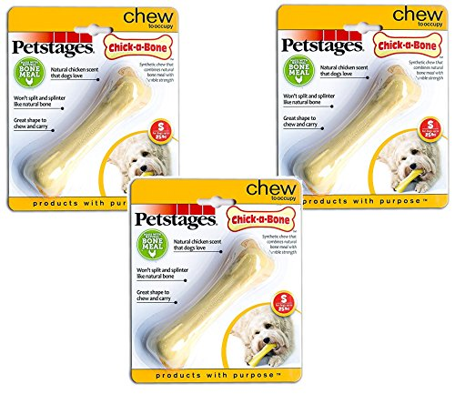 Petstages 3 Pack of Chick a Bones, Small, Chicken Flavored Dog Chew Toys