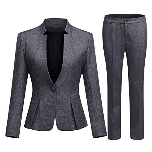 Women's Business Office 1 Button Blazer Jacket and Pants Suit Set (Blazer and Pants-Dark Gray, S)