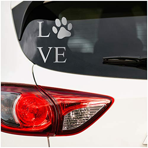 Hunde Liebe Aufkleber Love 10x13cm Sticker Hund Katze Tiere Folie für Auto Motorrad Wohnwagen Kfz Autoaufkleber Hundepfote Pfote Pfotenabdruck K056 (Silber)